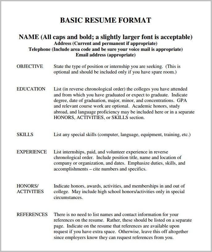 Basic Resume Template Free