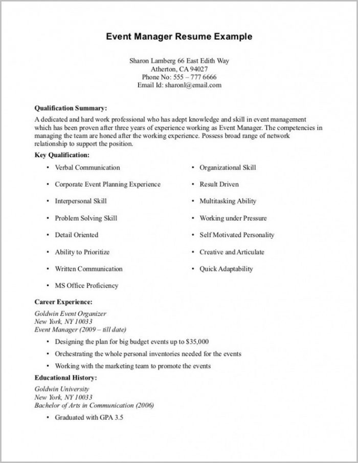 Basic Resume Template No Work Experience