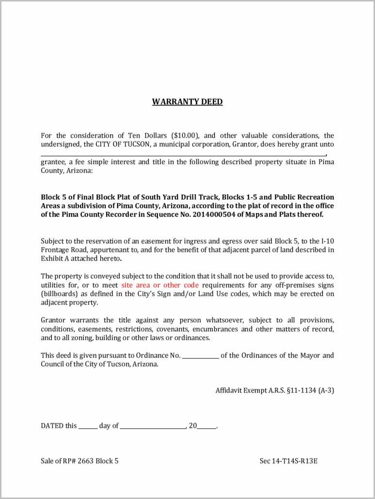 Blank Warranty Deed Form Arizona