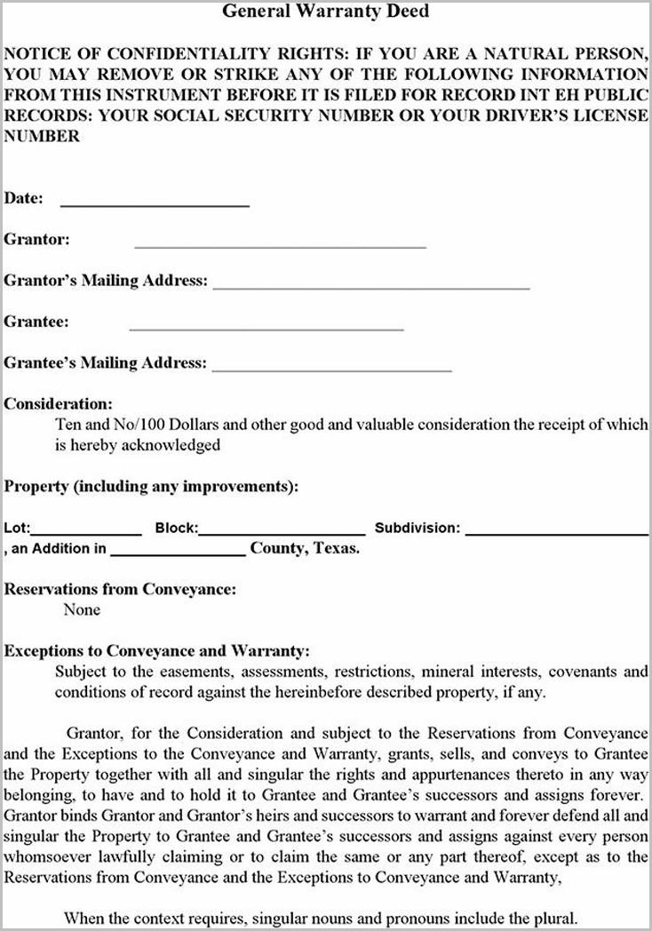 Blank Warranty Deed Form Texas