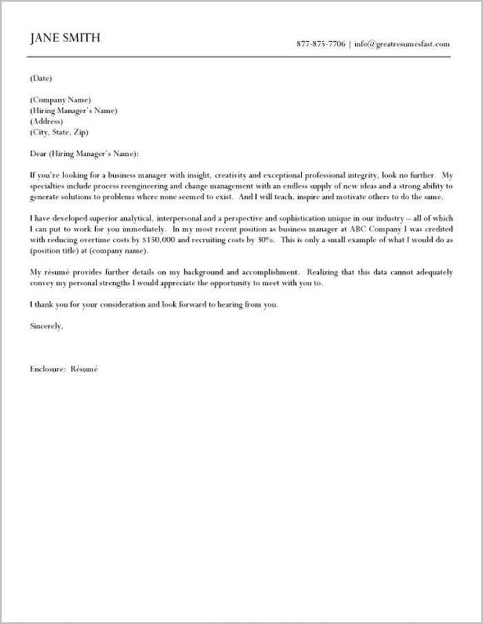 Business Manager Cover Letter By Jane Smith