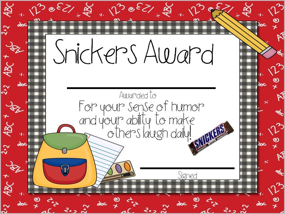 Candy Award Certificate Template