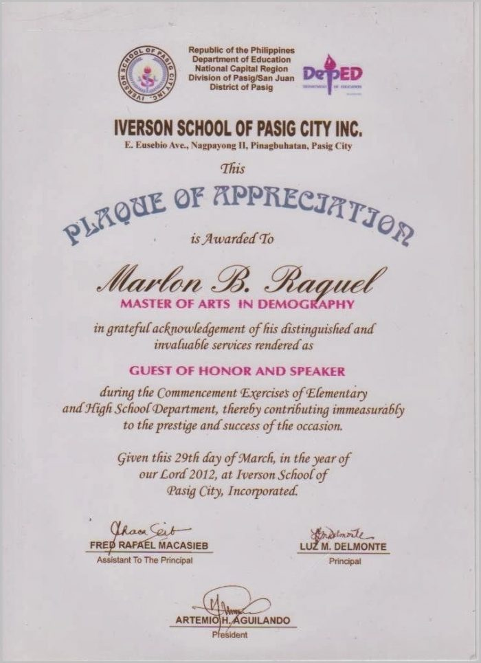 certificate of appreciation sample wordings for guest