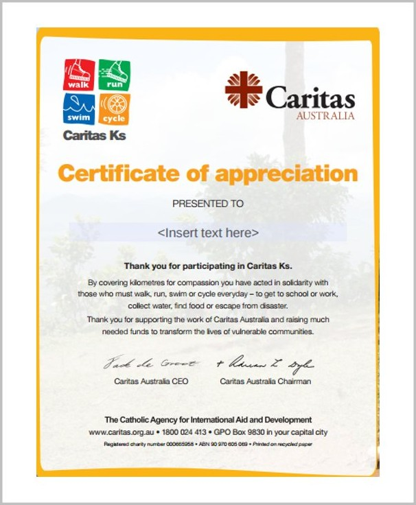 Certificate Of Appreciation Sample Wording