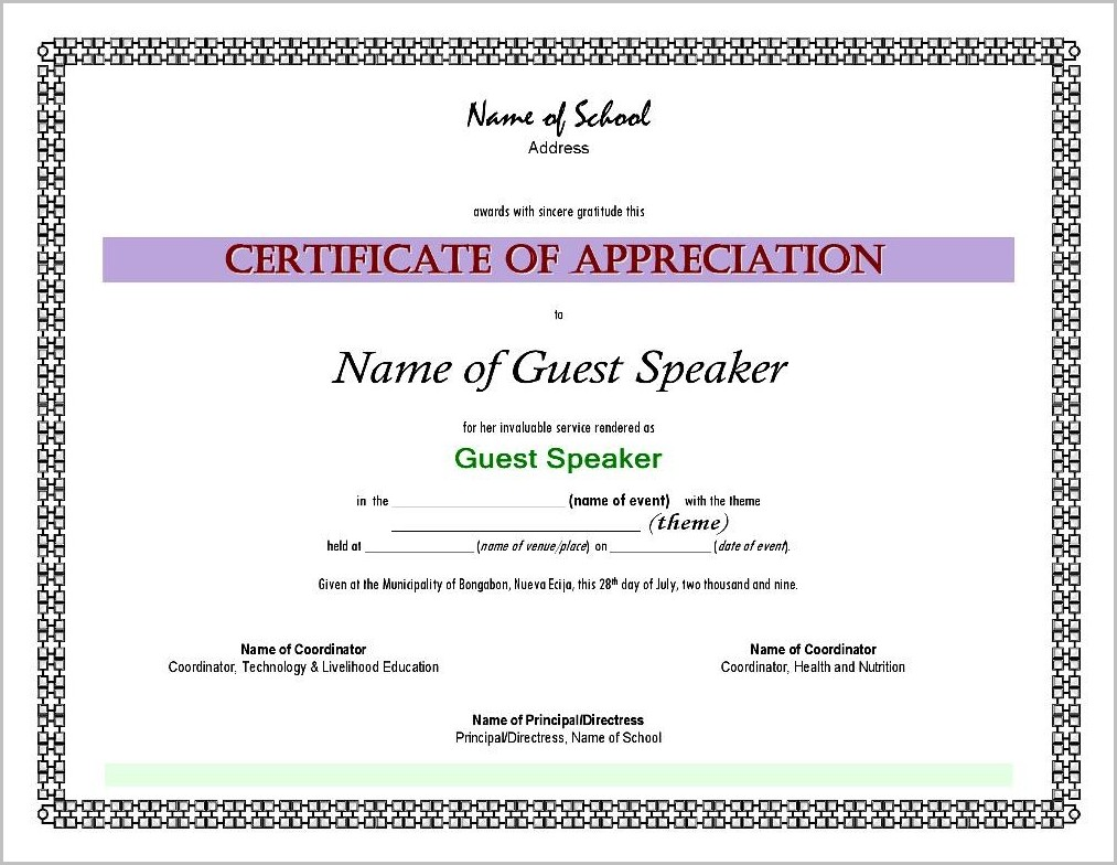 Certificate Of Appreciation Sample Wordings For Guest ...