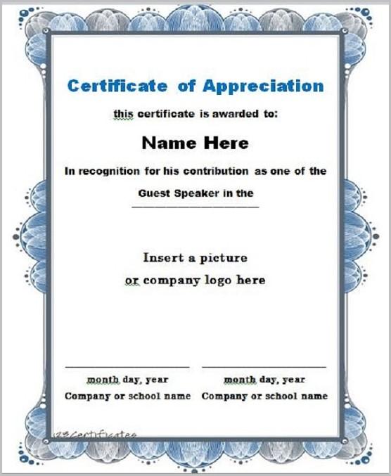 Certificate Of Appreciation Speaker Template