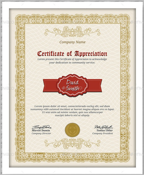 Certificate Of Appreciation Template Pdf