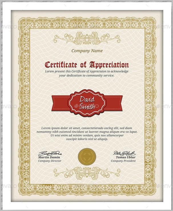 Certificate Of Appreciation Template Pdf