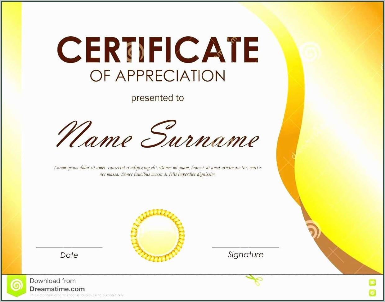 Certificate Of Appreciation Template Ppt