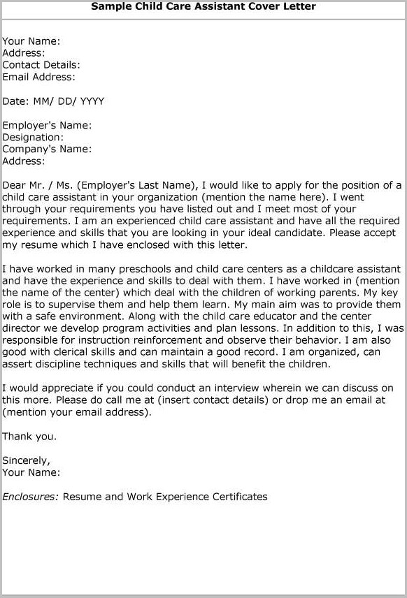 Child Care Job Application Cover Letter