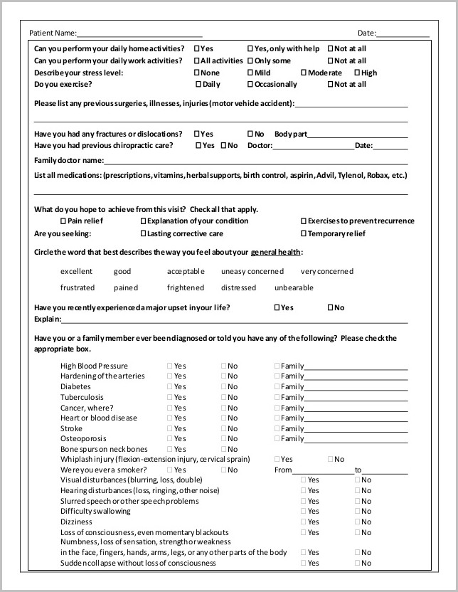 chiropractic intake forms doc form   resume examples