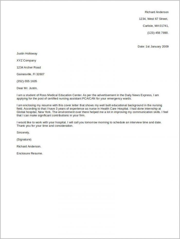 Cna Cover Letter Pdf