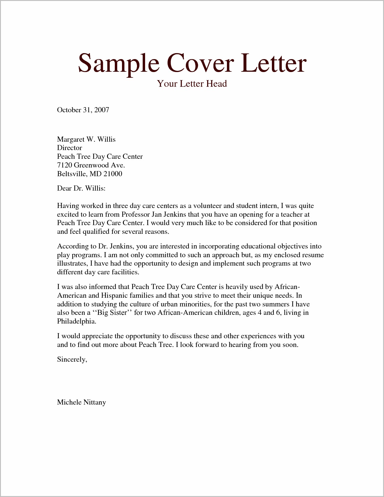 Cover Letter Career Synopsis Examples