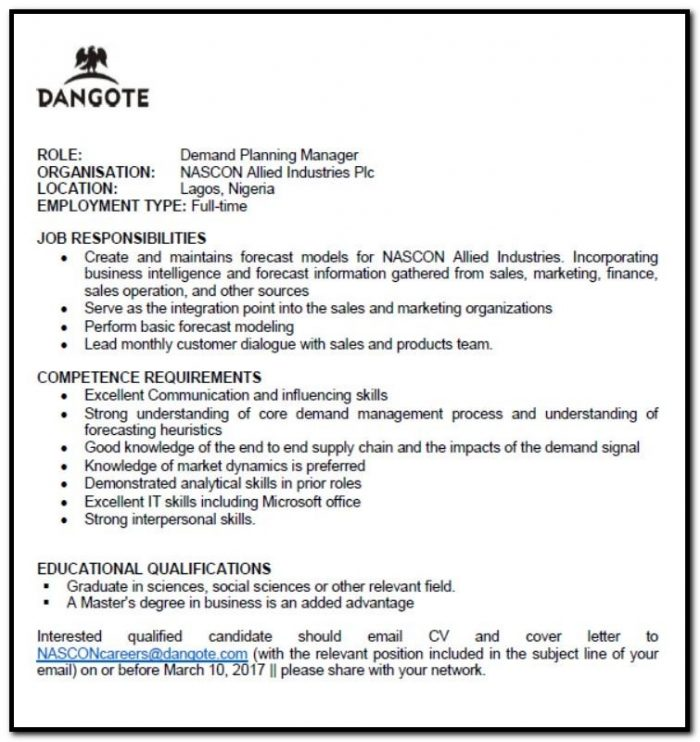 Cover Letter Demand Planner Position