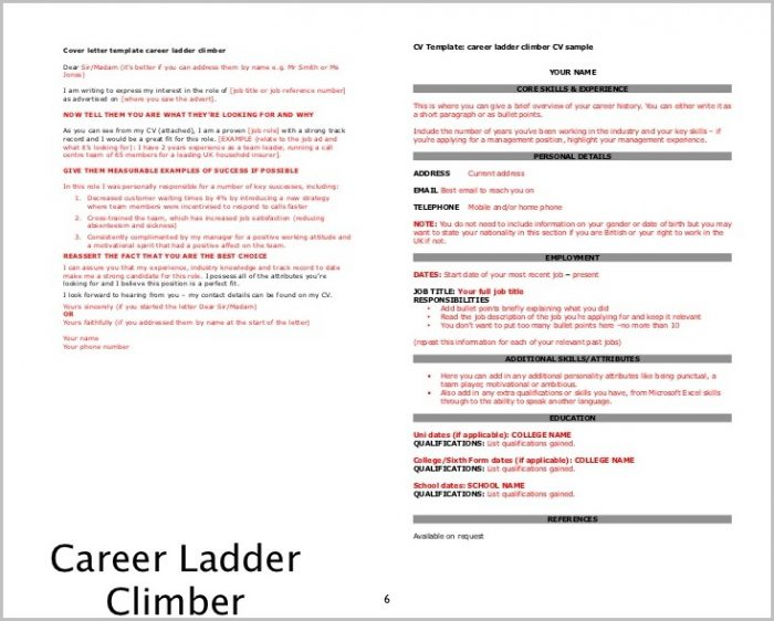 Cover Letter Examples Career Ladder Climber