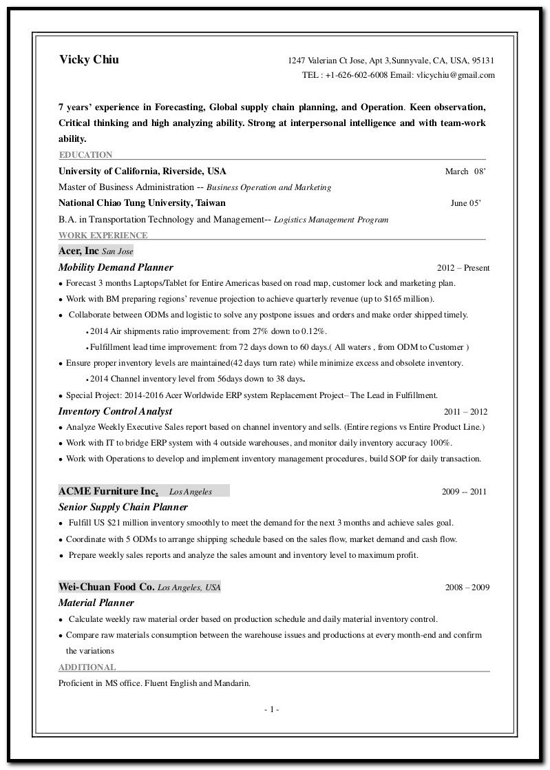 Cover Letter Examples Demand Planner