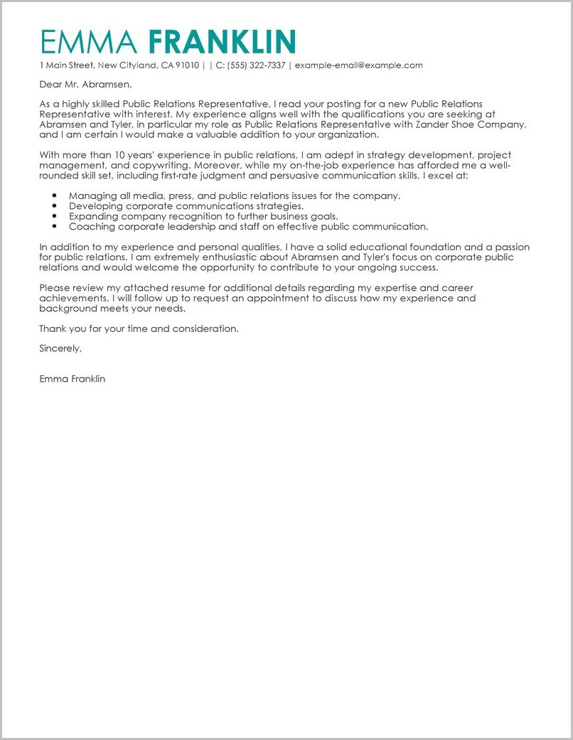 Cover Letter Examples For Business Resume