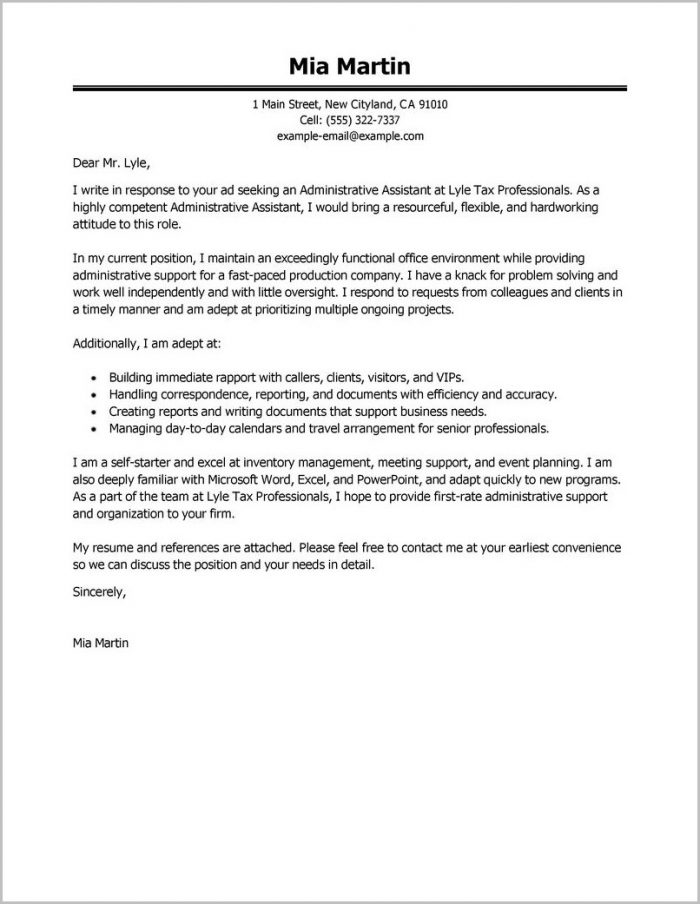 Cover Letter Examples For Resume Administrative Assistant