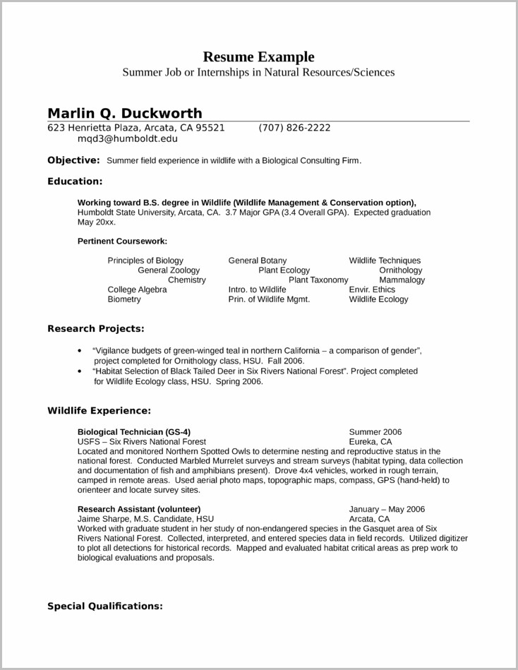 Cover Letter Examples For Resume Biology