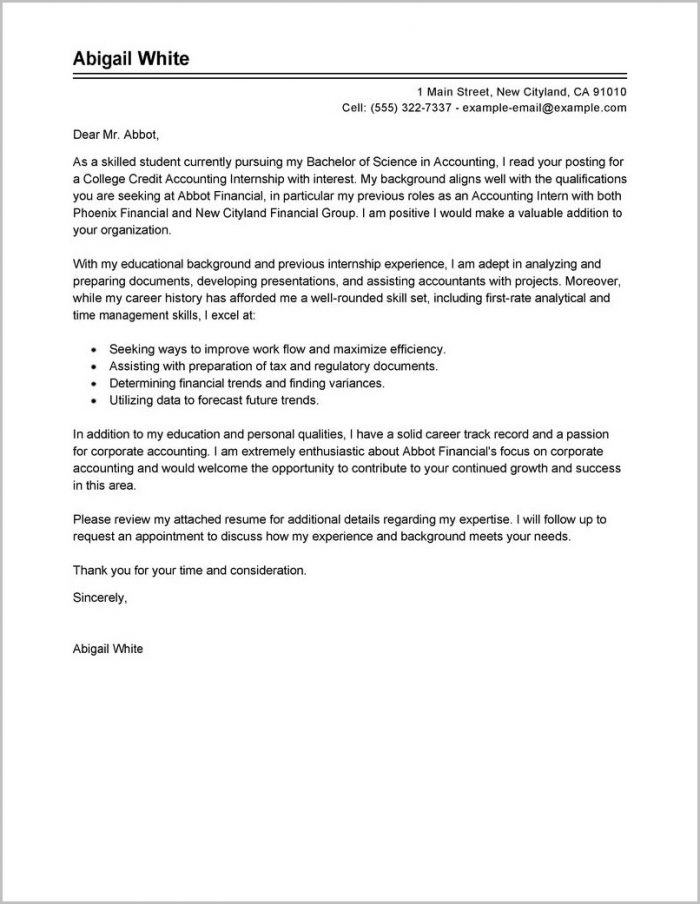 Cover Letter Examples For Resume Internship