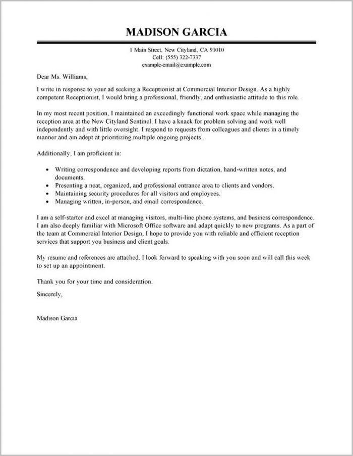 Cover Letter Examples For Resume Receptionist