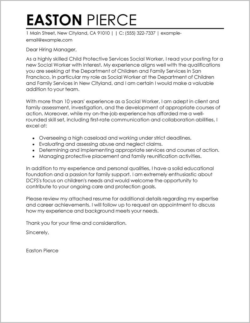cover letter examples for resume social work cover