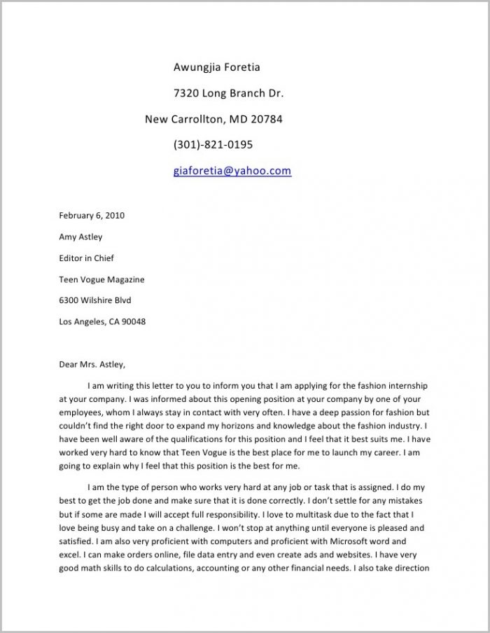 teenage cover letter sample - Villa-chems.com
