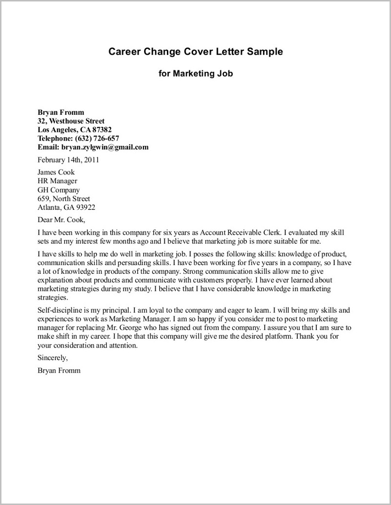 Cover Letter Explaining Career Change Examples Cover letter