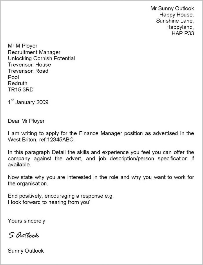 Cover Letter For Cv Examples Uk