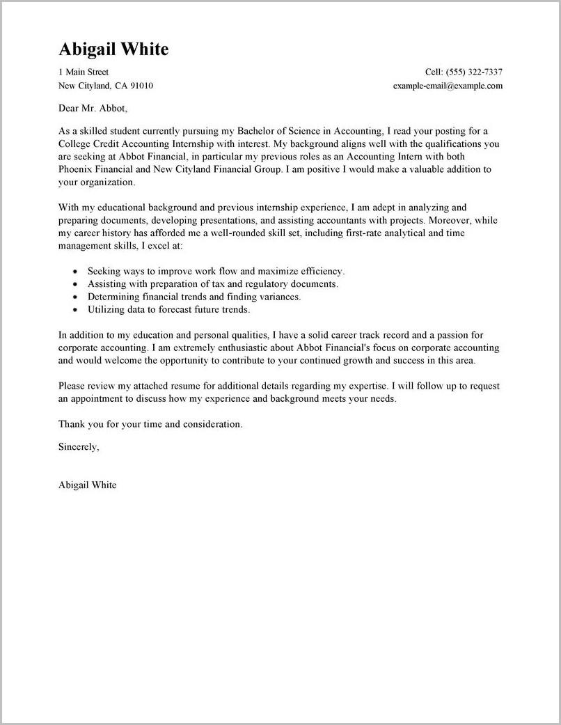 Cover Letter For Internship Help