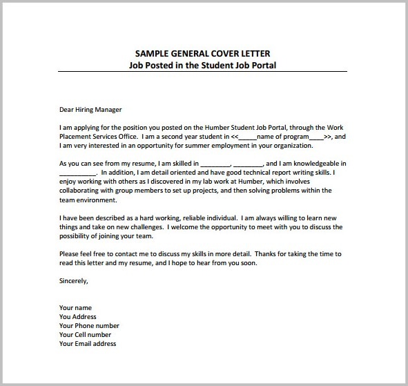 Cover Letter For Job Application Example Pdf