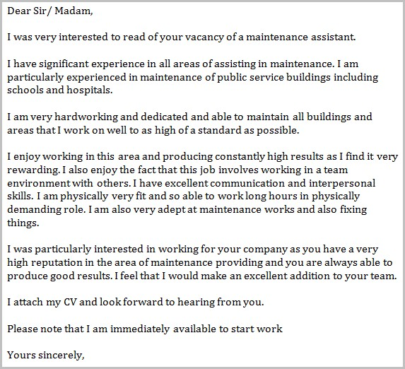 Cover Letter For Maintenance Helper