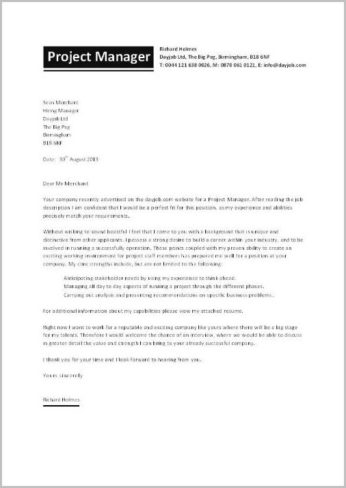 Cover Letter For Resume Construction Manager