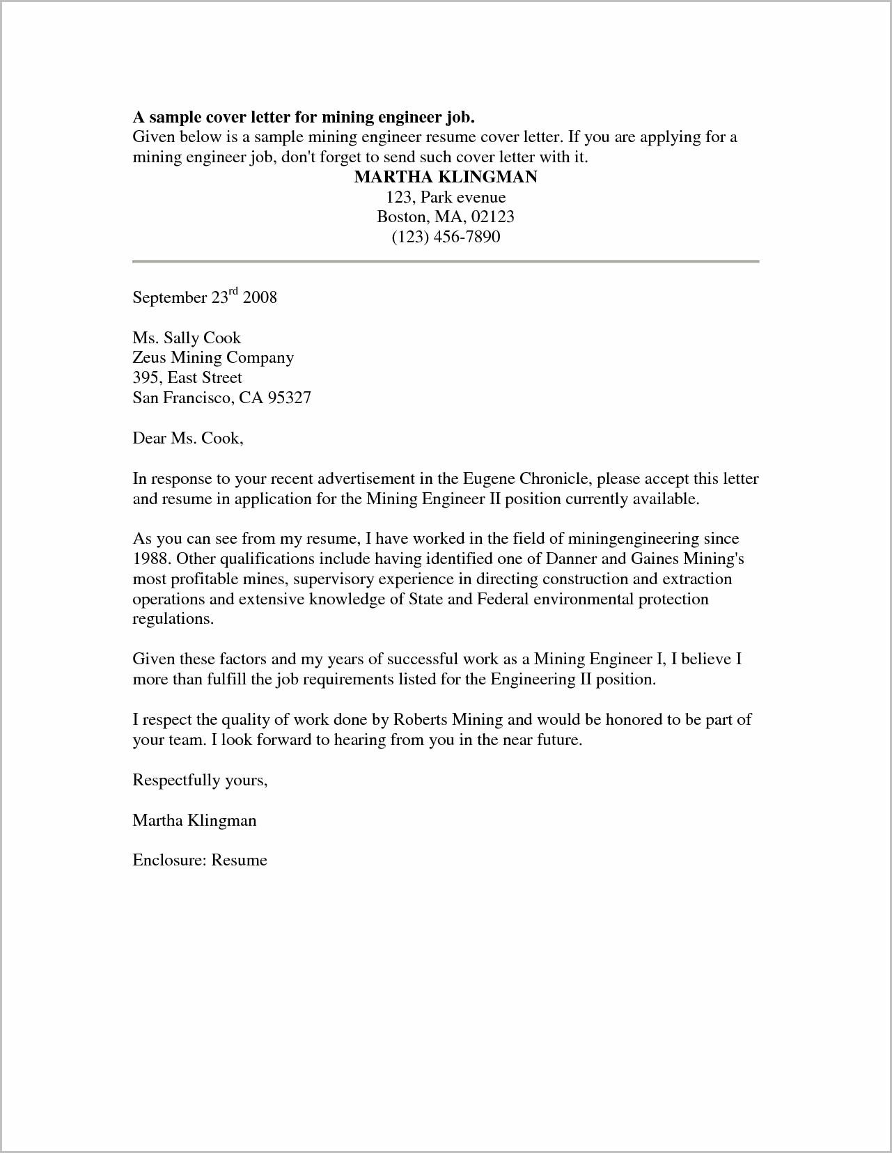 Cover Letter For Resume Job