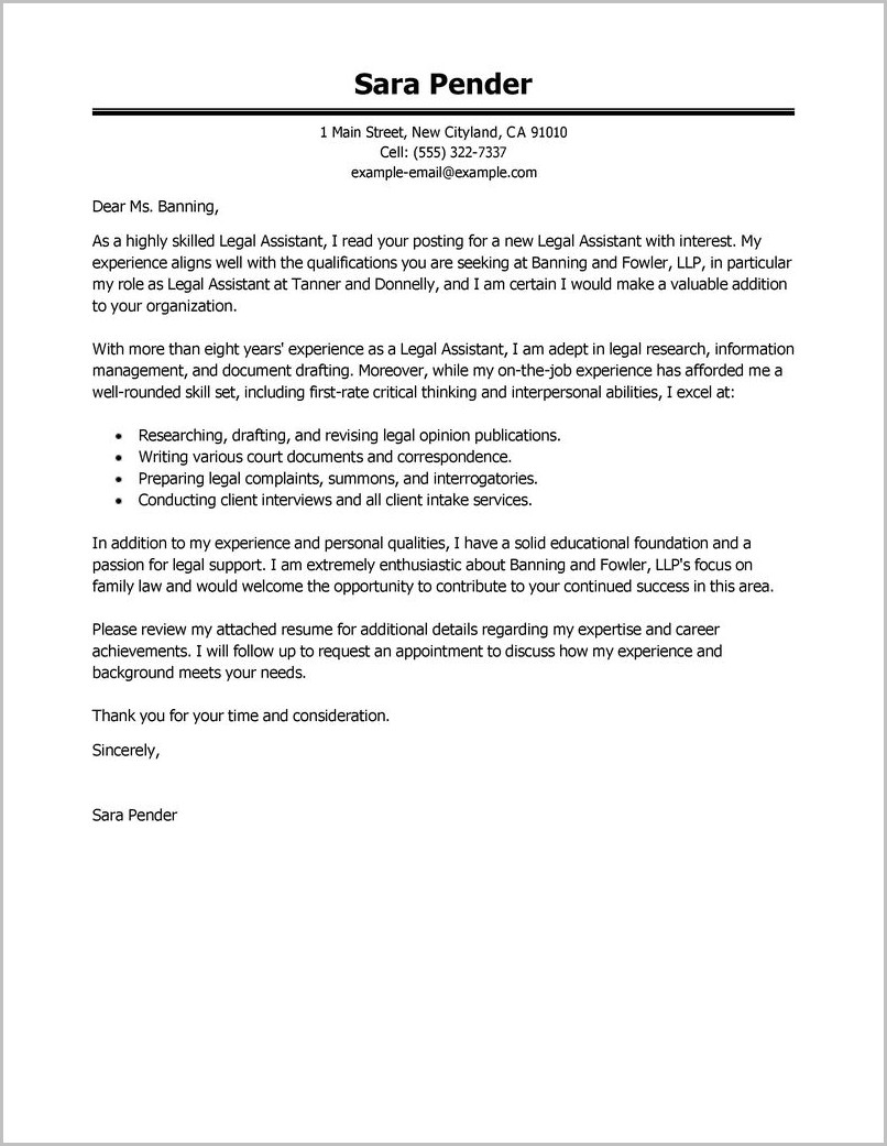 Cover Letter For Resume Legal Assistant