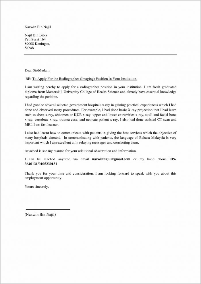 Cover Letter For Resume Malaysia Example