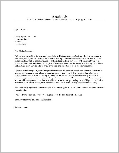 Cover Letter For Resume Real Estate