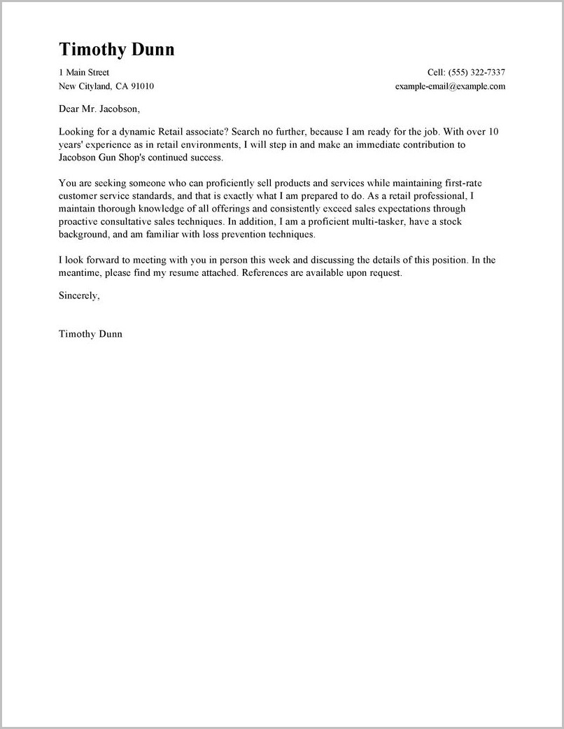 Cover Letter For Resume Retail