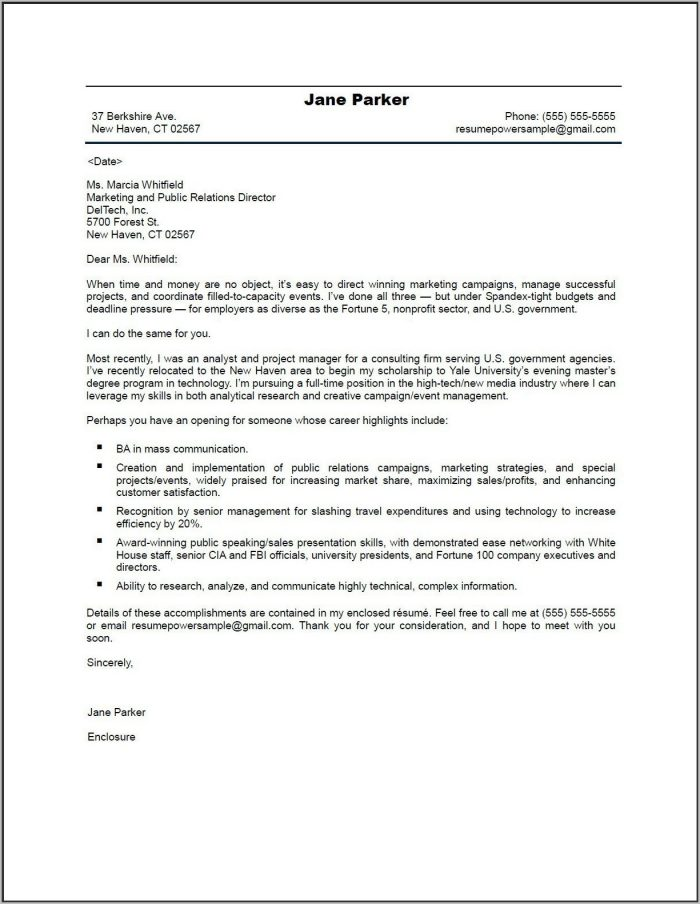 Cover Letter For Resume Sample Doc