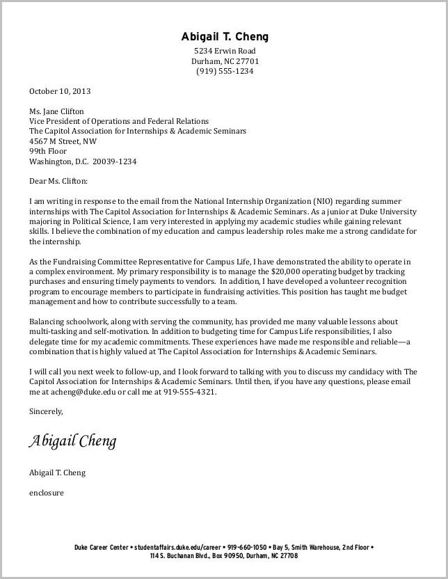 Cover Letter For Undergraduate Resume
