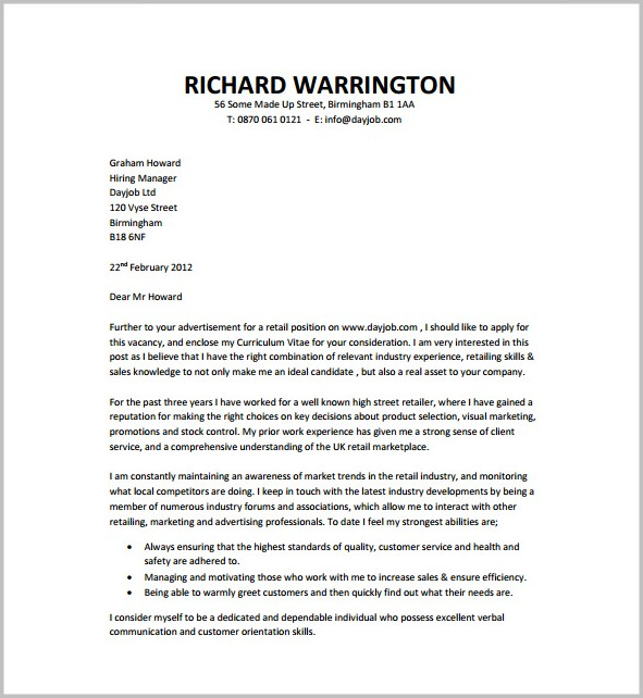 Cover Letter Free Template Download