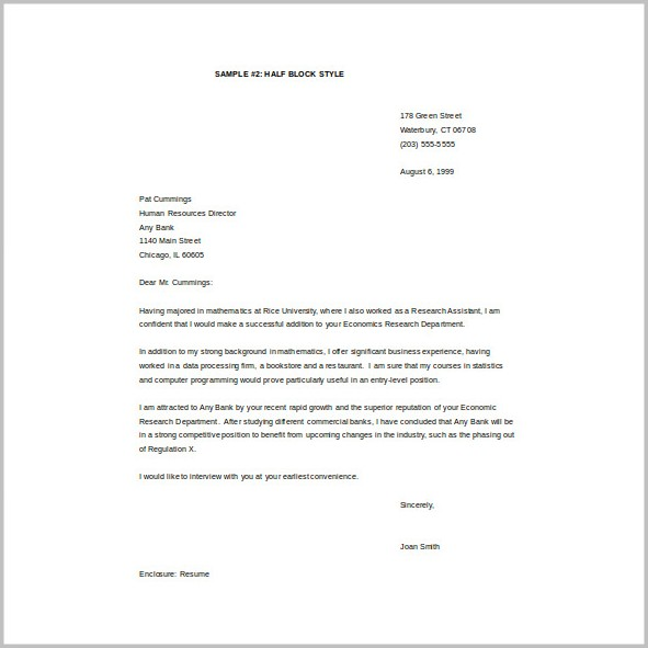 Cover Letter Free Word Template