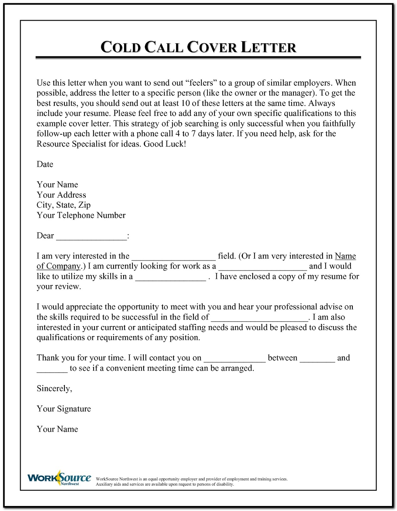 Cover Letter Project Planner Position
