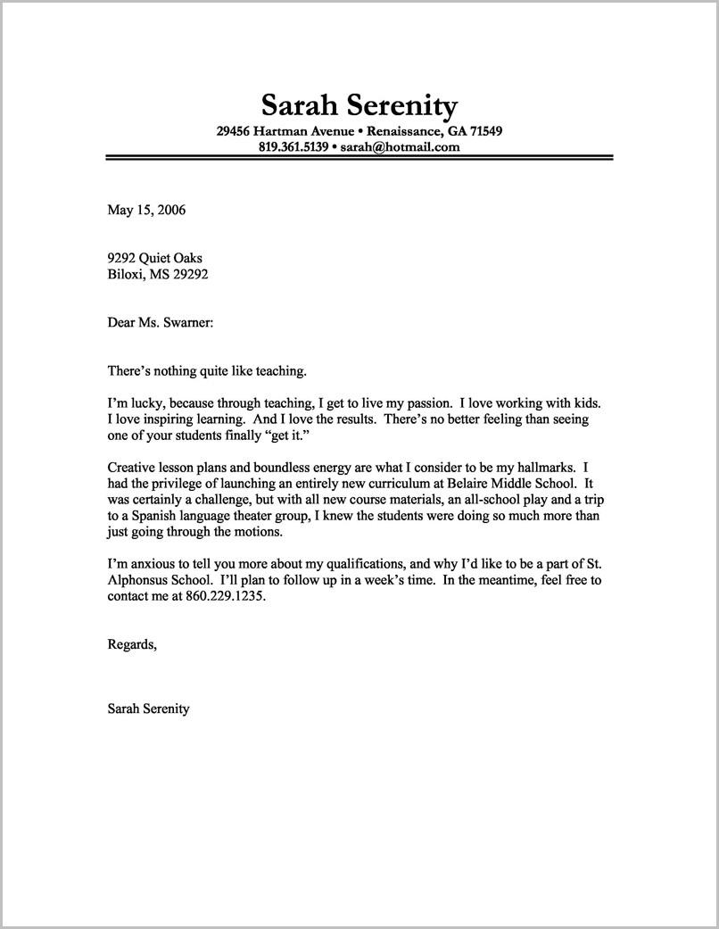 Cover Letter Sample For Resume Teacher