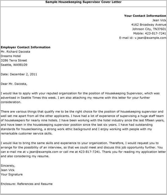 Cover Letter Template For Resume Email