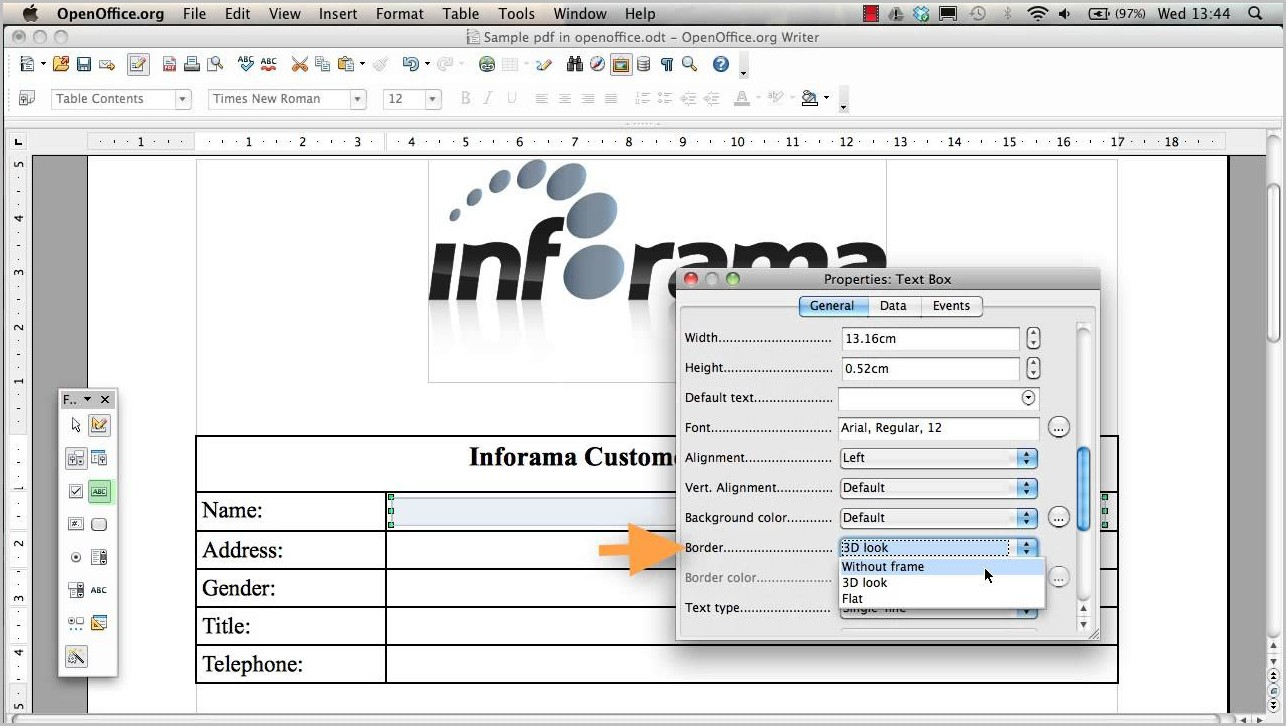 Create Fillable Pdf Form In Openoffice