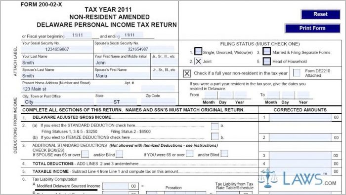 Delaware 1040ez Tax Form
