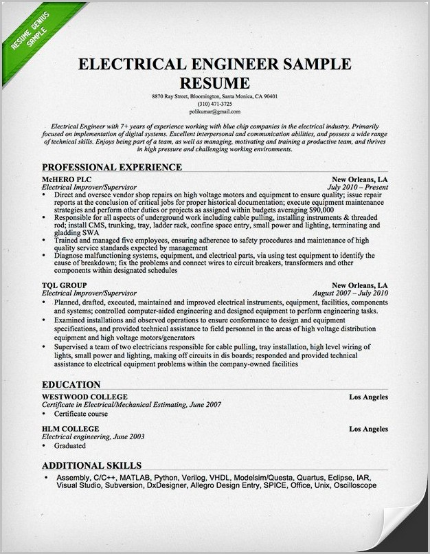 Example Cover Letter For Resume Electrical Engineer