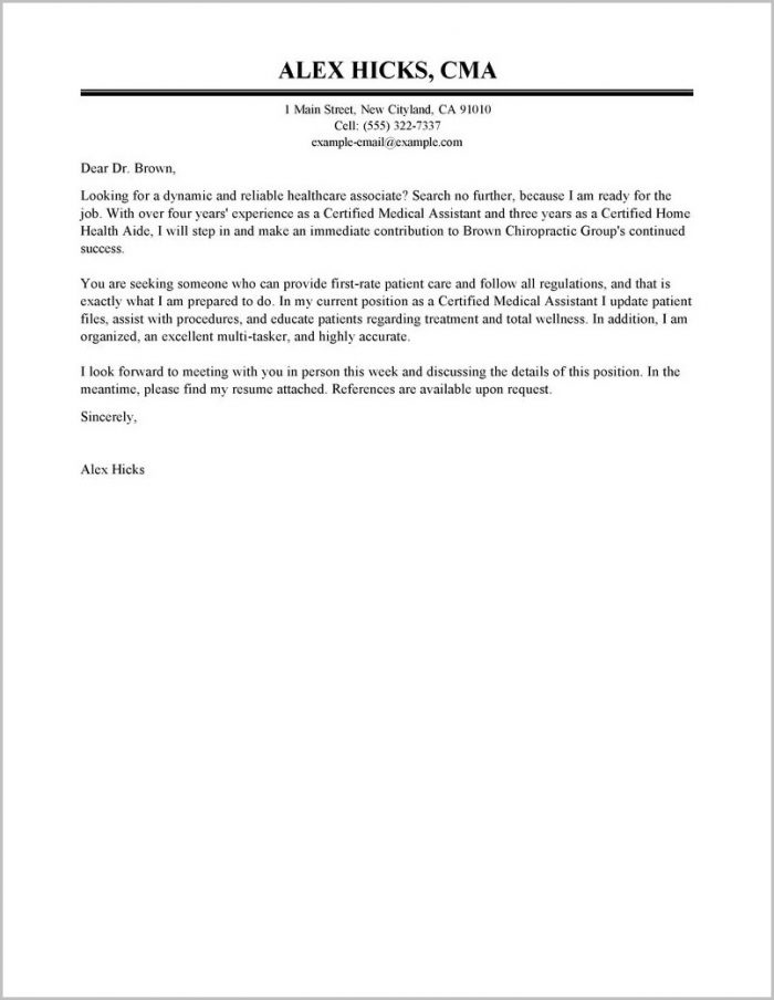 Example Cover Letter For Resume Healthcare