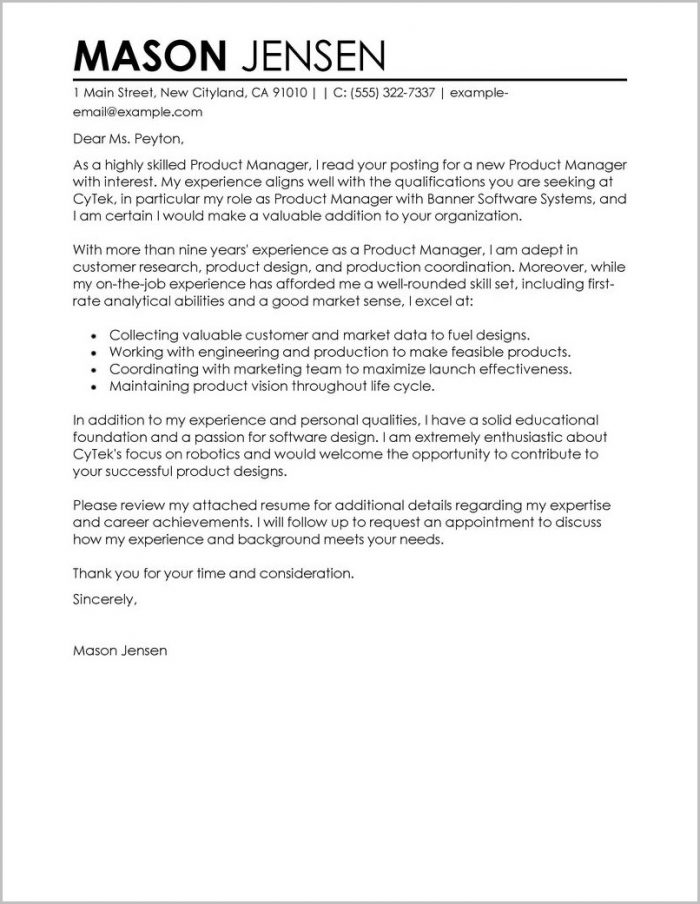 Example Cover Letter For Resume Marketing